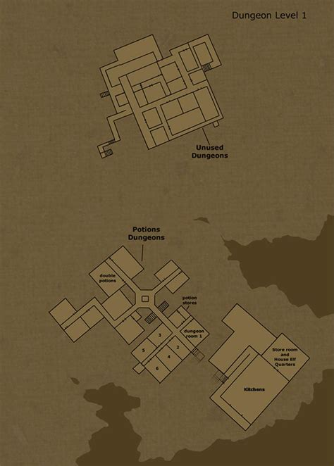 famous castle floor plans theorized floor plan of hogwarts castle dungeon level 1 by