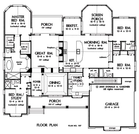 one story house plans with large kitchens floor plan of the clarkson house plan number 1117