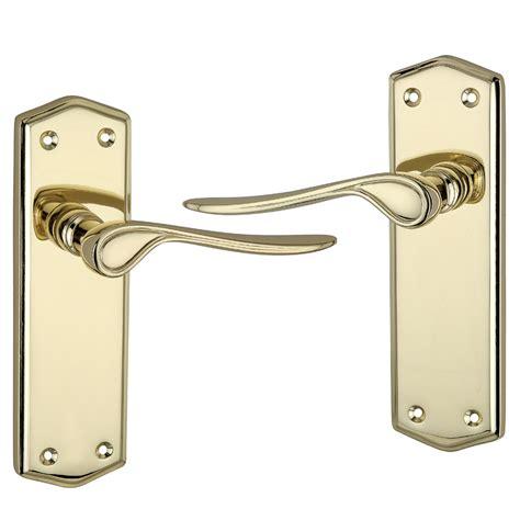 Brass Door Handle by Rowan Polished Brass Effect Door Handle Door Knobs