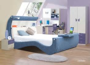 Modern cool girls beds with desk blue white home improvement