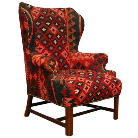 kilim wingback armchair at 1stdibs