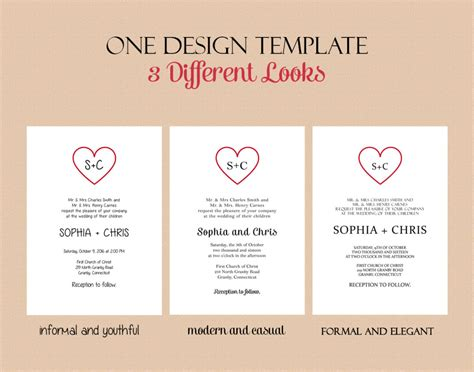 printable invitation kits simple heart calligraphy based wedding invitation