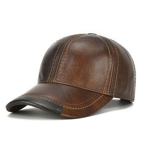 Leather Baseball Cap mens cowhide leather baseball cap casual cosy high quality