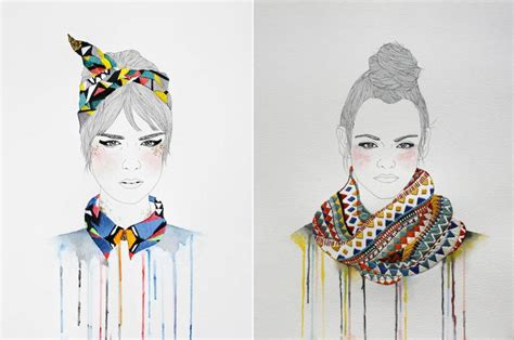 fashion illustration embroidery fashion illustrations with embroidered accessories fubiz media