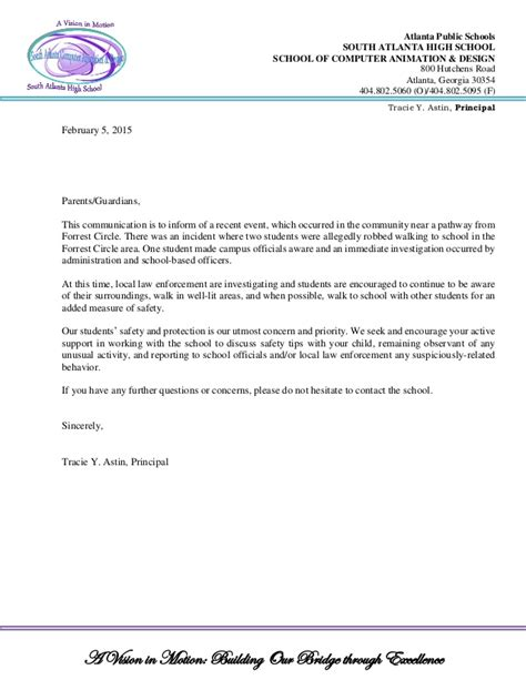 Official Letter Notification School Letterhead Official Notification Student Safety