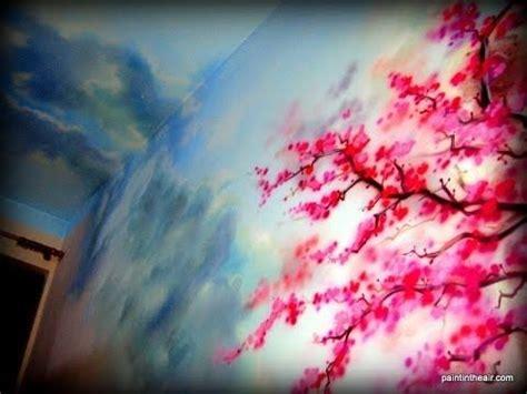 sakura flower mural wall painting youtube cloudy skies at cherry blossom airbrush mural speed