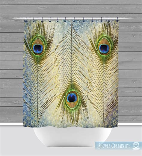 feather shower curtain peacock shower curtain gold teal feather boho chic 12