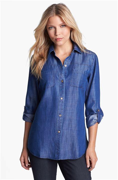 Blouse Denim Navy foxcroft highlow tencel denim shirt in blue navy lyst