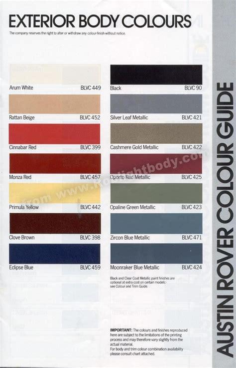 range rover colour chart 1983 mini range rob lightbody s website