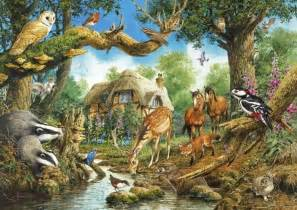 Forest Scene Wall Mural fantasy woodland creatures wallpaper