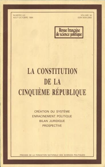 constitution de la rpublique les logiques cach 233 es de la constitution de la cinqui 232 me r 233 publique pers 233 e