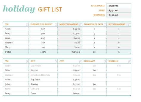 Holiday Gift List Template Holiday Gift List Present List Template