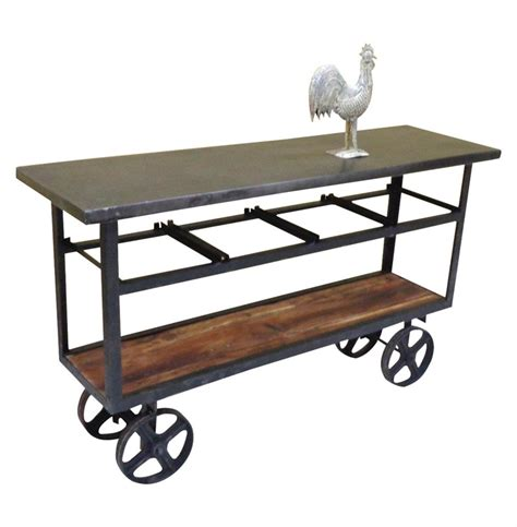 Industrial Console Table Vintage Industrial Style Reclaimed Wood Merchandise Console Table Cart