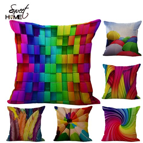 Colorful Ideas For Throw Pillows Colorful 3d Pencil Geometric Umbrella Feather Patchwork Cotton Linen Throw Pillow Cushion Home