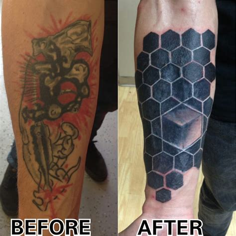 process of tattoo cover up hexagon tattoo cover up still in the process of healing