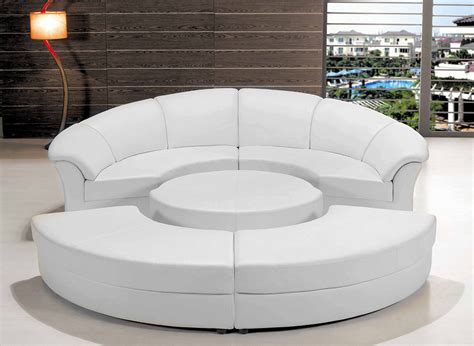 Circle Sectional Sofa Modern White Leather Circular Sectional Sofa