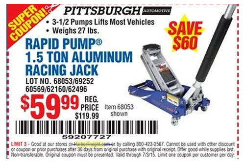 harbor freight super coupon aluminum floor jack