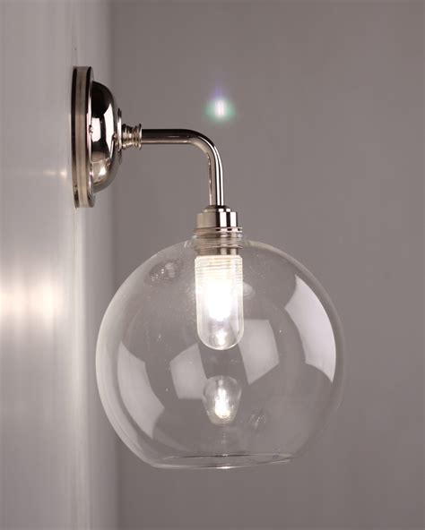 Wall Bathroom Lights Lenham Contemporary Clear Glass Bathroom Wall Light