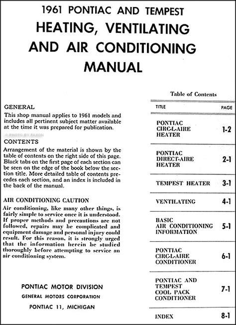 how to download repair manuals 1961 pontiac tempest head up display 1961 pontiac air conditioning repair shop manual original