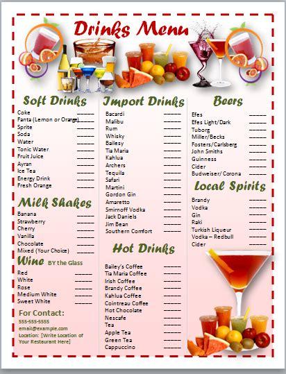 cocktail menu template word free free word templates cocktail menu template