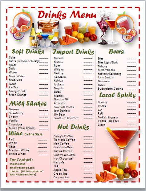 drink menu template microsoft word microsoft office templates