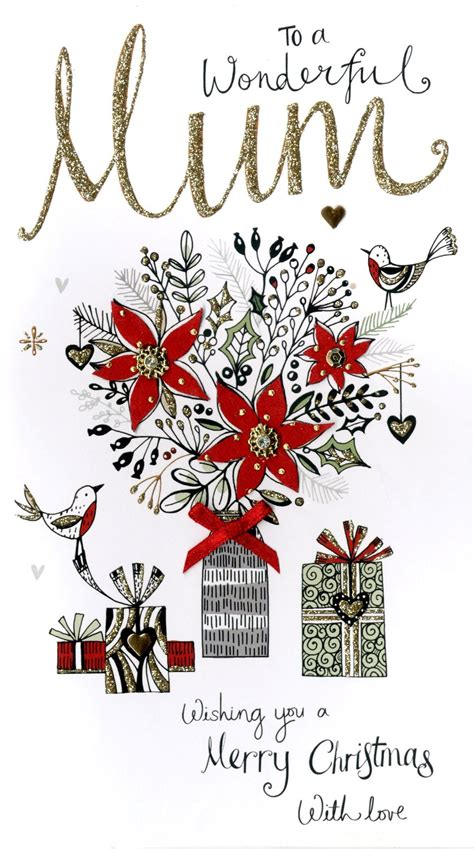 wonderful mum embellished christmas card cards