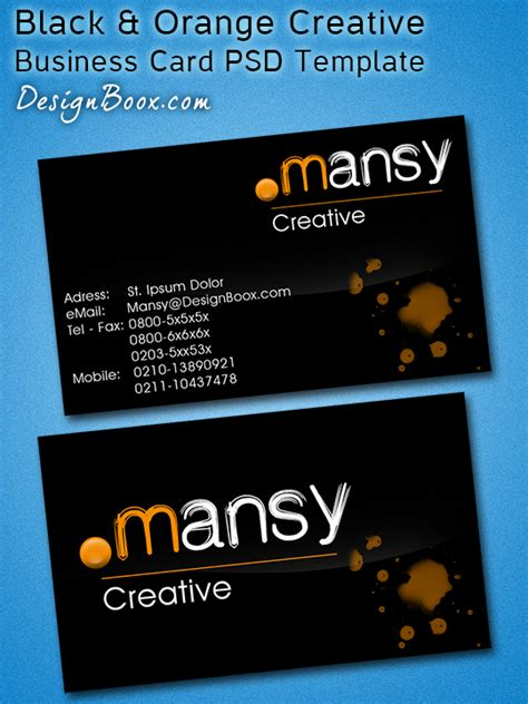 orange and black business card psd design techfameplus black orange creative business card psd template by