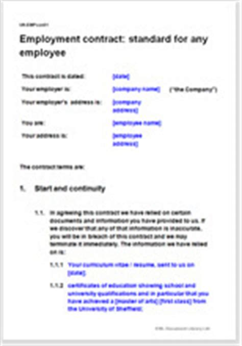 Employment Contract Template For Any Employee Employment Contract Template Uk