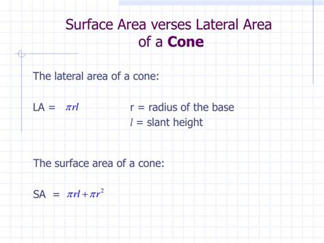 Area Of A Cone Section by Ppt Surface Area Of Pyramids And Cones Section 12 3