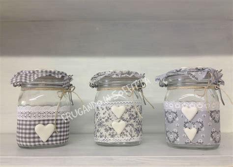 vasi shabby vasi shabby con decorazioni in tessuto e pasta modellabile