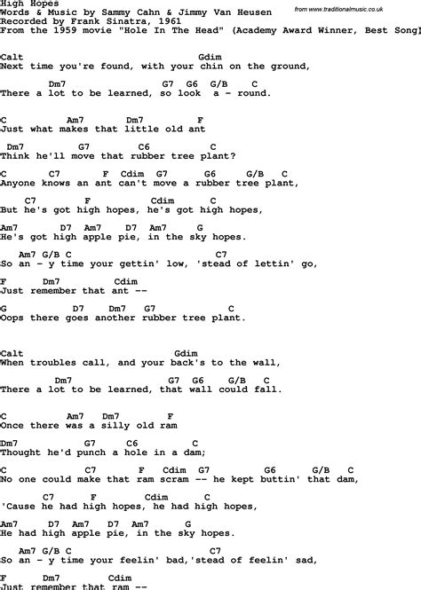 lyrics frank sinatra song lyrics with guitar chords for high hopes frank