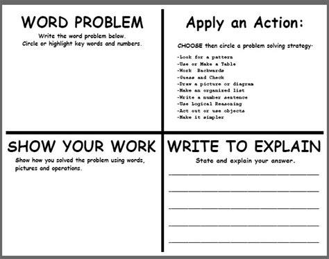 Teachingisagift Problem Solving Template Problem Solving Template