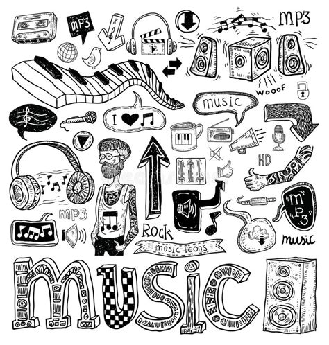 doodle less pool musicas doodle collection illustration stock