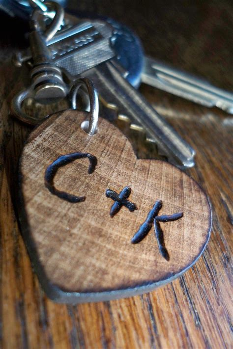 Personalized small wood heart keychain, gift for him or
