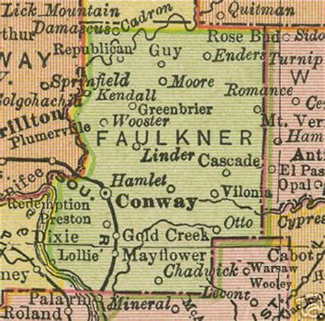 Faulkner County Records Faulkner County Arkansas Genealogy History Maps With Conway Greenbriar Mayflower