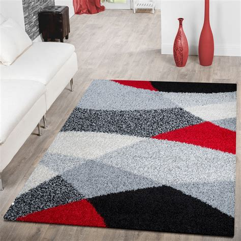 teppich rot gemustert moderner hochflor teppich shaggy vigo gemustert in schwarz