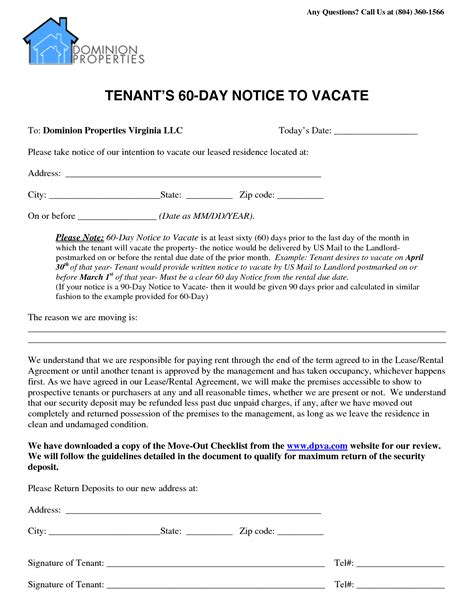 60 day lease termination notice template best photos of 90 day notice letter sle collection
