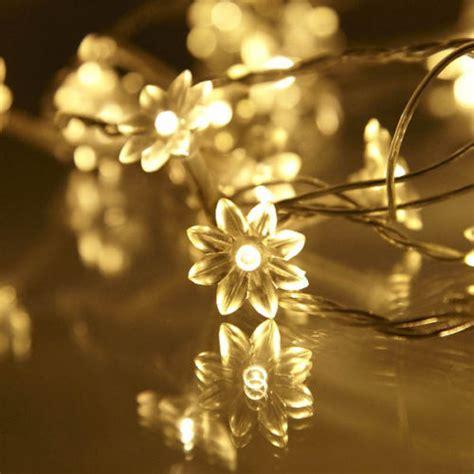 40 White Flower String Party Patio Fairy Decor Christmas Flower Lights