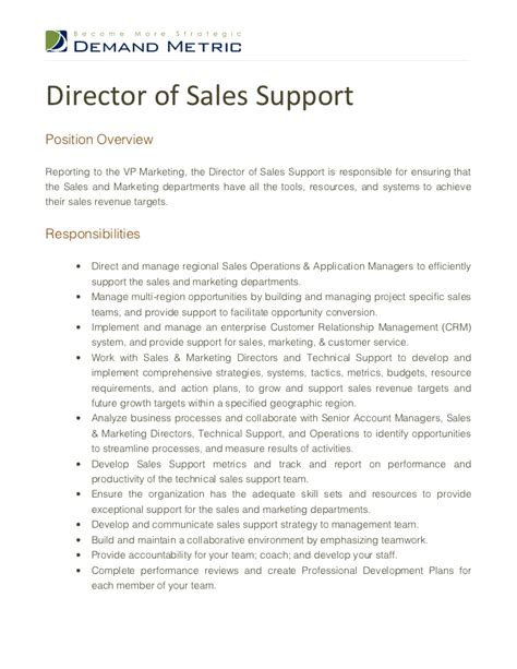 sales support resume sles director of sales support description
