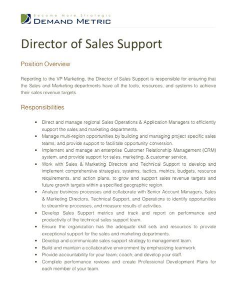Director of Sales Support Job Description