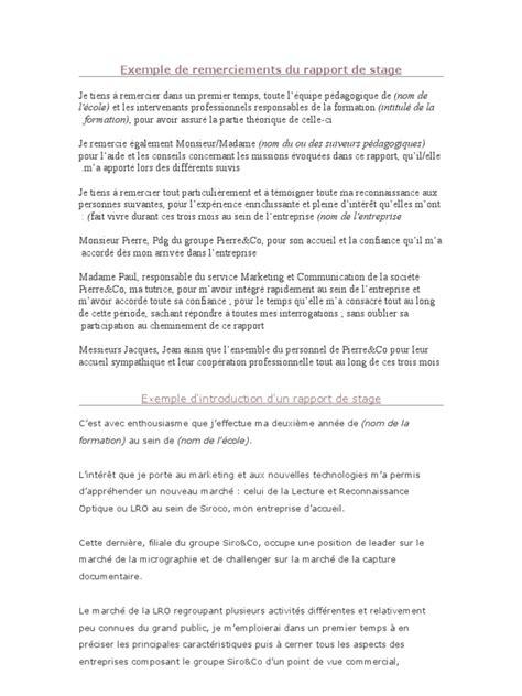 Exemple De Lettre De Remerciement Pour Mémoire Exemple De Remerciements Du Rapport De Stage