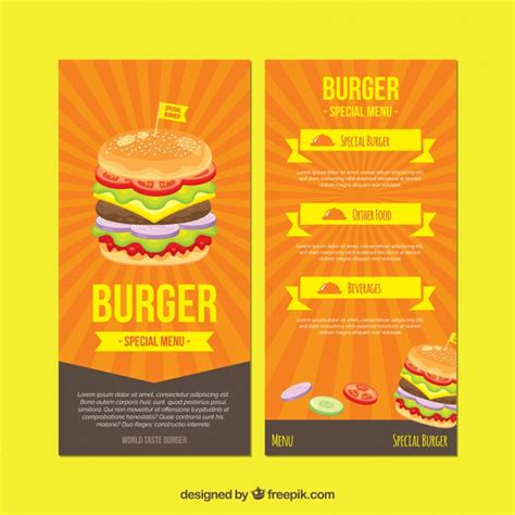 burger menu template menu design vectors photos and psd files free