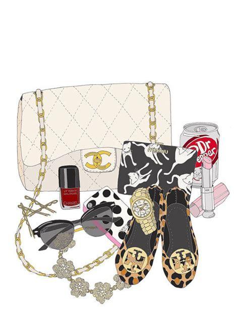Tas Fashion Chanel 33814 custom what s in my bag portrait illustration poster bags shoe illustration
