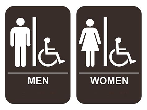 bathroom signages men s women s handicap restroom sign set ada compliant