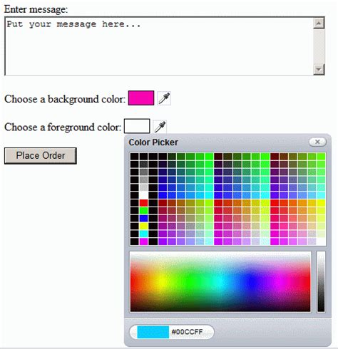 adding a color picker to your asp net application 4guysfromrolla