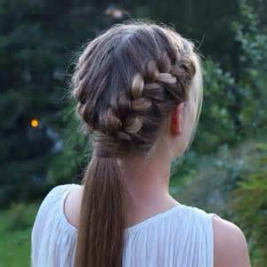 Two french braids into a ponytail