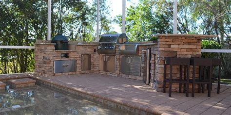Outdoor Stacked Fireplace Built In Green Egg Outdoor Kitchen Photo Gallery Yard Design Ideas Ta