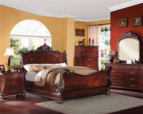 acme bedroom furniture bedroom set in cherry finish abramson by acme furniture