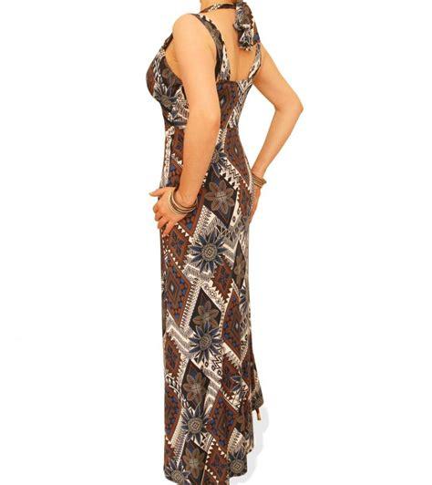 Etnic Maxy Dress just blue navy blue and mocha ethnic print maxi dress