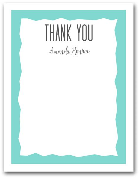 Thank You Letter Border blue zigzag border flat note cards